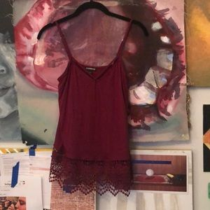 Brand New Wine Red Lace spaghetti Top